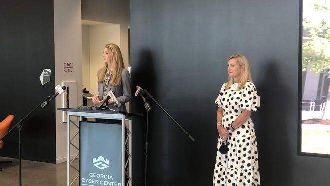 U.S. Sen. Kelly Loeffler (left) and Marty Kemp, wife of Gov. Brian Kemp, visited the Georgia Cyber Center on Thursday.