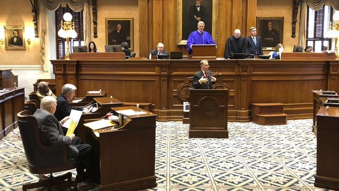/State Sen. Mike Fanning speaks against a massive education overhaul bill at the South Carolina Statehouse on Wednesday, March 4, 2020 in Columbia, South Carolina. The bill got key approval on Wednesday.