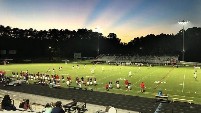 Kick off as Harlem High School takes on Aquinas for the season opener of football action at Harlem High School in Harlem, Ga., Friday evening September 4, 2020.