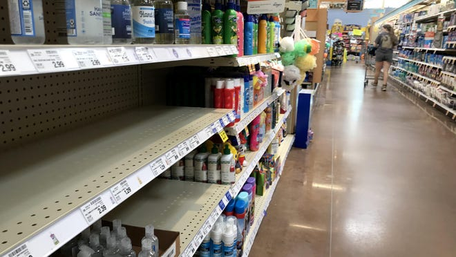 Grocery stores still have some pandemicrelated supply issues, including empty shelves like this one that usually displays hand sanitizer, in Augusta, Ga., Thursday afternoon October 15, 2020.