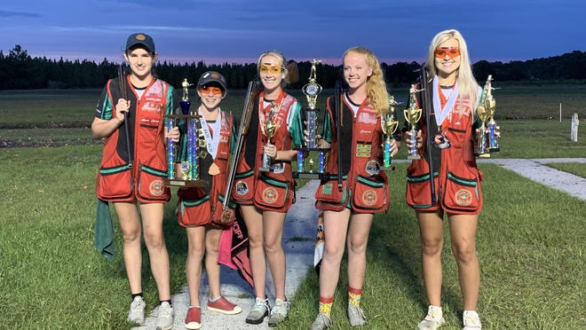 From left: Anna Loren Dekle, Ayden McKenzie, Ella Whitley, Gracie Whitley and Abi Pazderski of the Forest City Juniors last weekend at the 2020 Scholastic Clay Target Program State Championship at Forest City Gun Club in Savannah.