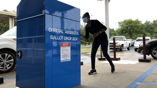 The absentee ballot drop box located at the Chatham County Board of Elections office on Eisenhower Drive.
