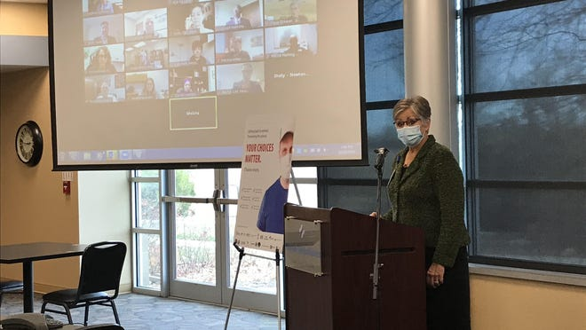 """Val Gleason, president and CEO of Newton Medical Center, announces the """"Your Choices Matter. Choose Wisely"""" campaign. The campaign will last through at least the next three holidays."""