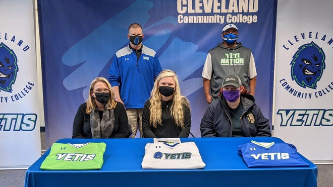 A 2019 graduate of Kings Mountain, Jessie Oehler has signed a National Letter of Intent to play softball at Cleveland Community College. Seated left to right are Oehler's mother Tonie Stroup, Oehler and sister Rachel Oehler. Standing are CCC Athletic Director Chris Nanney and Yeti Softball Coach Ronald Beaver.