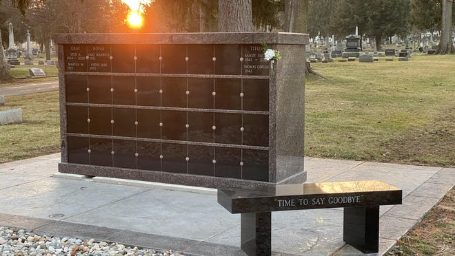 A columbarium is pictured Wednesday at Brookside Cemetery in Tecumseh. The Tecumseh City Council on Monday approved the purchase of another columbarium for the cemetery.