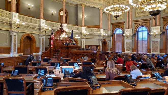 Secretary of State Scott Schwab welcomes the state's electoral college voters when President Donald Trump officially claimed all six electoral votes from Kansas.