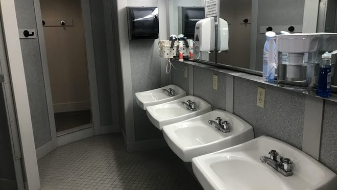 The bathrooms in the Lincoln Tower dormitory on the Ohio State University campus, as seen on August 15, 2019.