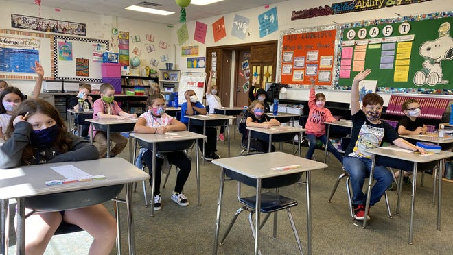 Students in Jill Roberts' third grade class at Lincoln Elementary during the first week of school. Adrian Public Schools headed back last week, with a majority of students opting for in-person instruction.