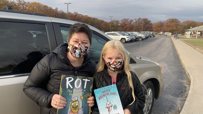 A number of books were donated to Inland Lakes Schools as part of the Harbor Springs Festival of the Book. Inland Lakes was one of several districts around the region who recieved the books as part of the festival. Contributed photo
