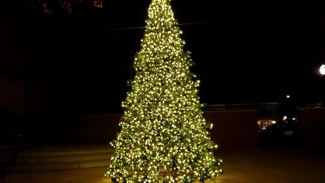 Downtown Holland's new Christmas tree lit in GDK Park on Eighth Street Wednesday, Nov. 11. The 20-foot artificial tree is the result of fundraising throughout the month of October.