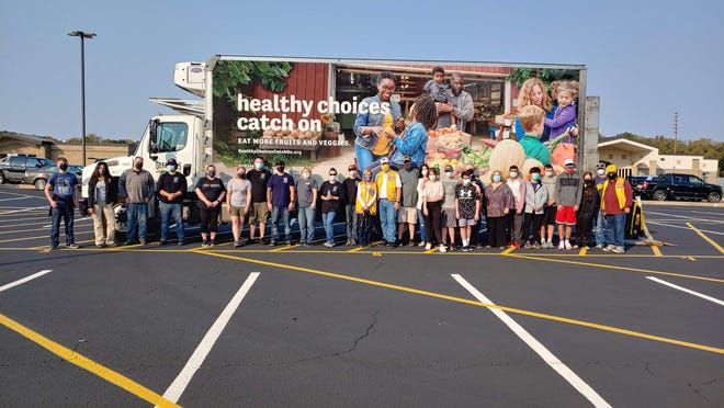 A mobile food pantry was held Saturday at Bedford High School.