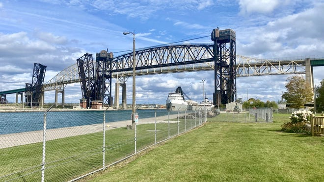 The Saginaw crossing under the International Bridge between Sault, Canada, and Sault, Michigan, on the Michigan side in the sunny afternoon of Monday, Oct. 5.