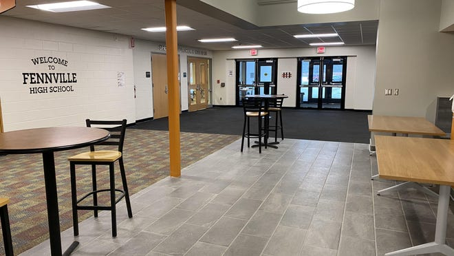 The recently completed commons area at Fennville High School.