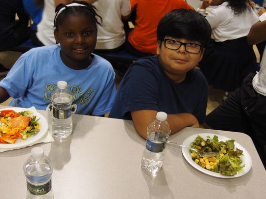 Ahja Jackson (left) and Steven Cornejo enjoyed learning about making healthy choices and eating as friends.