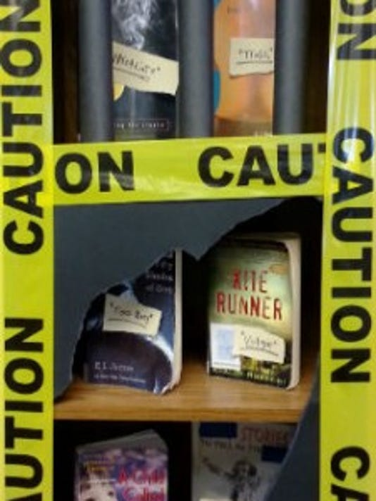 A Banned Books Week display at Collinsville Community Library. (SUBMITTED)