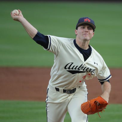 Auburn pitcher Casey Mize pitches against LSU Friday,