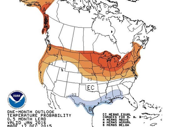 One-month temperature outlook from NOAA, 12/17/2015