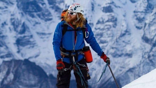 Chad Jukes climbing Nepalese mountain Lobuche in October 2010.
