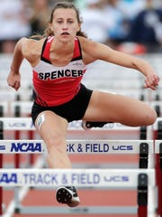 Spencer's Hannah Zastrow competes in the Division 1
