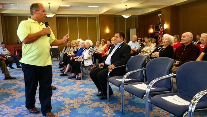 Mayoral candidate Dan McQueen speaks to residents at Mirador Senior Living Retirement Community during a political forum Sept. 29, 2016.
