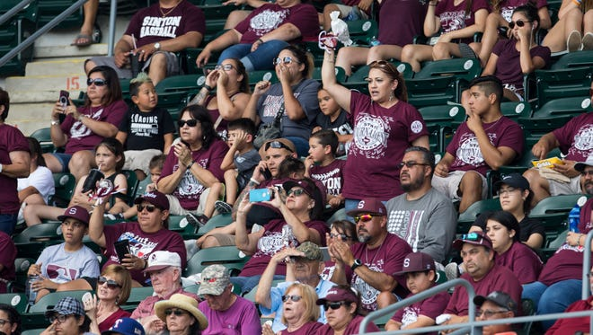 Sinton fans cheer in the stands for during the Class 4A State Semifinal against Robinson at Disch-Falk Field in Austin on Wednesday, June 7, 2017.