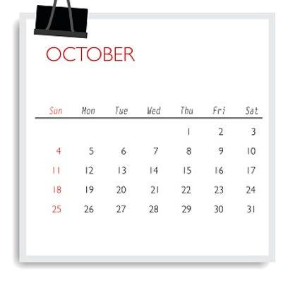2015 calendar, monthly calendar template for October.