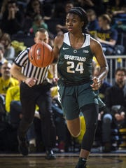 Nia Clouden and Michigan State moved up one spot to