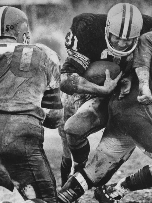 Green Bay Packers Jim Taylor earns MVP honors during 1965 NFL Championship game.  Dated January 3, 1966