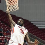 FILE - Ball State's Chris Bond dunks the ball. Ball State won, 94-58, in a basketball game against Oakland City on Jan. 3.