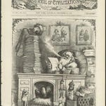 """Santa stacks his letters in two stacks, the """"naughty children"""" and """"good children,"""" as shown in this cartoon by Thomas Nast that appeared in Harper's Weekly in 1871."""
