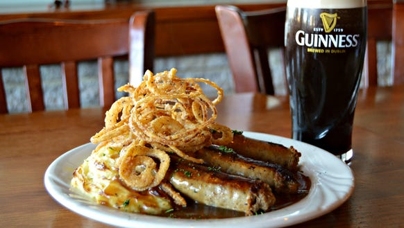 Bangers and mash from the Irish Penny, served with