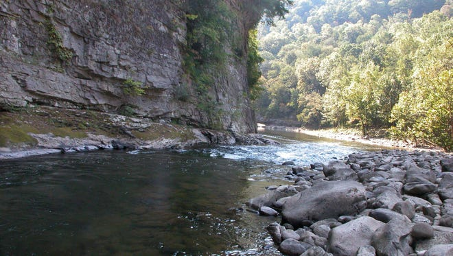 The Russell Fork of the Big Sandy River flows through the base of Breaks Interstate Park on the Kentucky-Virginia border near Elkhorn City, Kentucky.