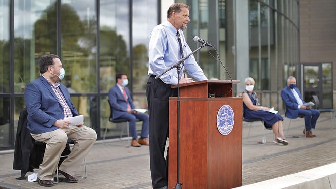 Mayor Robert Hedlund speaks about the new Tufts Library at a ceremony to mark its opening Monday September 28, 2020.  Greg Derr/ The Patriot Ledger