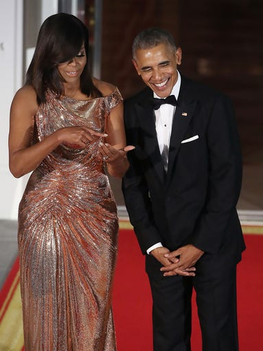 All Of Michelle Obama S Beautiful State Dinner Dresses Ranked