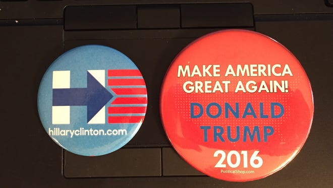 2016 political buttons for Hillary Clinton and Donald Trump.
