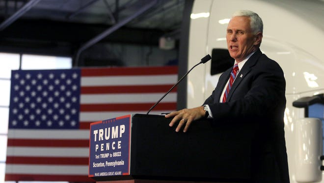 GOP vice presidential nominee Mike Pence gives a speech Wednesday at Kenworth Of Pennsylvania in Dunmore, Pa.