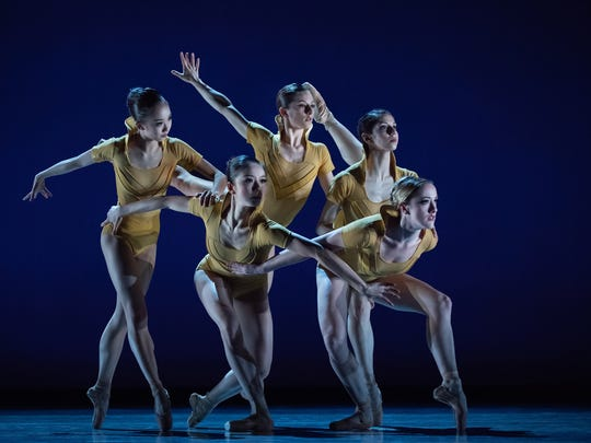 "One of many visually striking moments in resident choreographer Jennifer Archibald's ""Myoho,"" which had its world premiere as part of Cincinnati Ballet's ""Bold Moves"" program on Thursday. Seen here (from L) are Chisako Oga, Sirui Liu, Melissa Gelfin, Christina LaForgia Morse and Samantha Griffin."