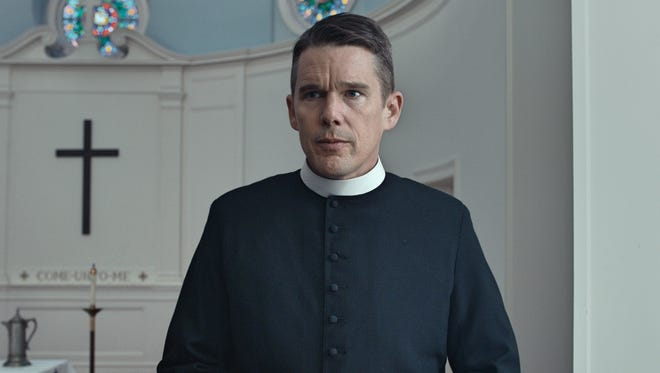 """In """"First Reformed,"""" the Rev. Toller (Ethan Hawke) attracts few parishioners to his church."""