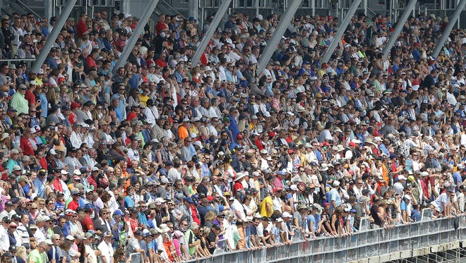 IndyCar fans were packed in the stands at the start of the Indianapolis 500 at Indianapolis Motor Speedway Sunday, May 28, 2017.