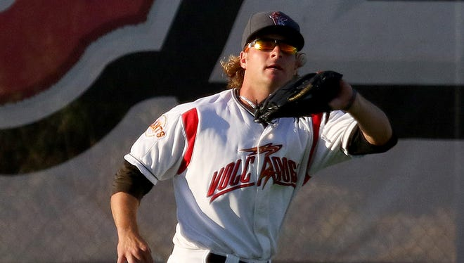 Volcanoes outfielder Shilo McCall makes a catch against Boise at Volcanoes Stadium, on Thursday, July 16, 2015, in Keizer, Ore.