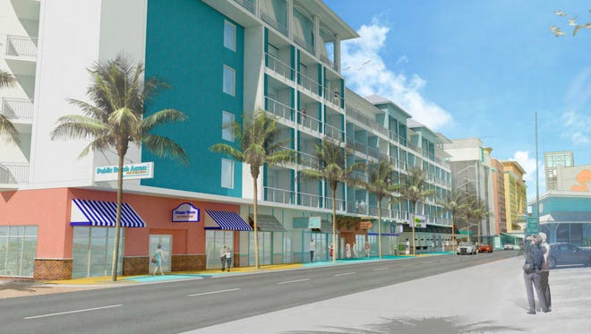 A conceptual rendering shows the four hotels with ground-level retail proposed by Torgerson Properties at a Monday, Nov. 30 workshop with Lee County and Fort Myers Beach officials.