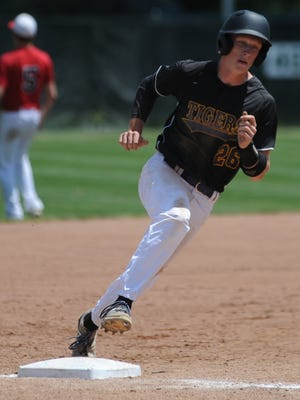 Hagerstown's Owen Golliher rounds third base and heads for home Monday at McBride Stadium.