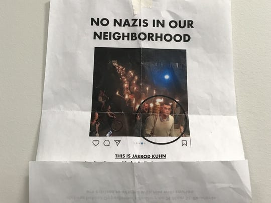 """A flyer circulated around the village of Honeoye Falls showed Jarrod Kuhn at the Charlottesville march and called him a """"neighborhood threat."""""""