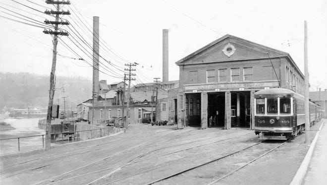 The former trolley barn, later a bus garage on nearby State Street in Binghamton, around 1935.