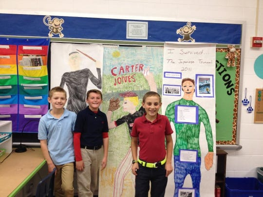 The fourth-grade students at St. Mary Elementary read a book of their choice and presented a project to the class. Projects included dioramas, life-size character drawings, five senses box, scene painting and construction, and a comic book. Pictured are Braden Brenn, Hayden Quimby and Ashton Post.