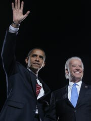 11/04/08 - Chicago, IL - ElectionDayChicago - Sen. Barrack Obama gives his victory speech joined by Sen. Joe Biden. A huge rally starring presidential hopeful Barack Obama and his running mate Joe Biden draws hundreds of thousands of party supporters at Hutchinson Field which officially holds 70,000 people. Tuesday, November 4, 2008. The News Journal/SUCHAT PEDERSON
