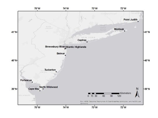 Graphic shows ports where summer flounder were collected during a study on discards in the fishery.
