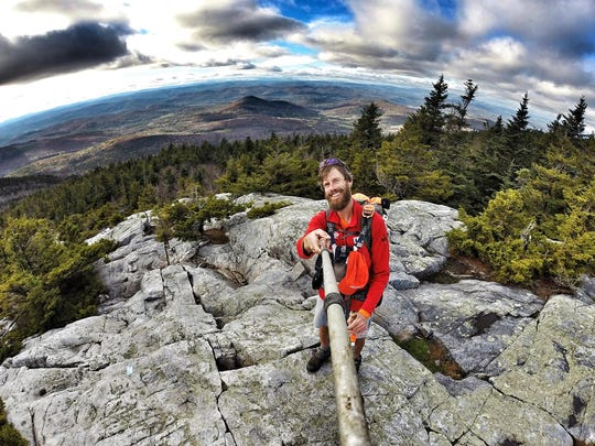 """Reno local Adam Bradley poses for a """"selfie"""" portrait while on the """"Strange Loop,"""" an adventure that included hiking the Pacific Crest Trail, the Appalachian Trail and the Continental Divide trails contiguously while reaching each trail head by riding his bike."""