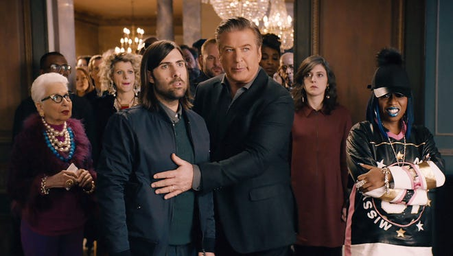 A still from Amazon's first-ever Super Bowl ad, featuring Alec Baldwin,  Dan Marino and the Amazon Echo.