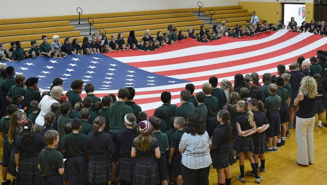 Students celebrate the 228th anniversary of Constitution Day in Erie, Pa., in September 2015.